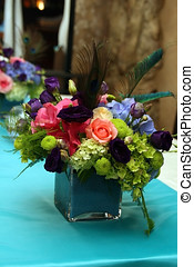tabelas, decorado, para, um, partido, ou, recepção casamento