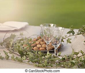 tabell sätta, romantisk, trädgård