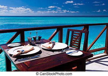 tabell sätta, strand, restaurang