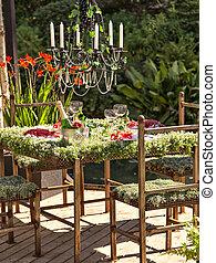 tabell sätta, trädgård