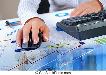 tabellen, diagramme, dokumente, auf, der, schreibtisch