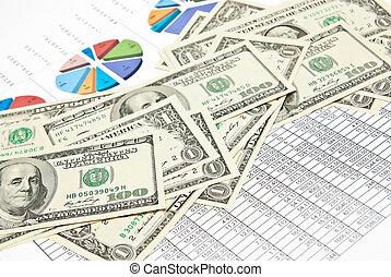 tabellen, diagramme, und, geld