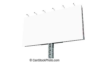 tabellone, bianco, isolato, annuncio pubblicitario, vuoto