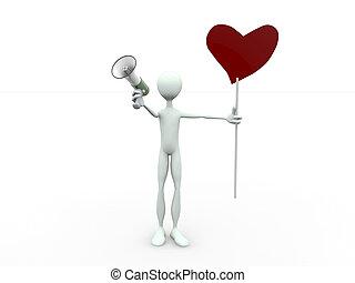 tabellone, cuore, megafono, uomo, modellato