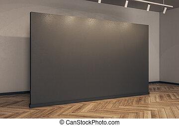 tabellone, moderno, galleria, vuoto