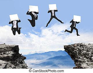 tabellone, montagna, saltare, uomo affari