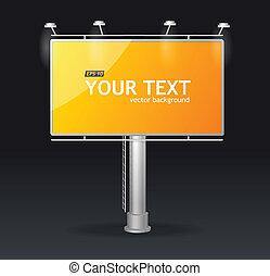 tabellone, schermo, concetto, sagoma, vettore
