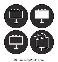 tabellone, set, icone