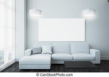 tabellone, vivente, stanza moderna