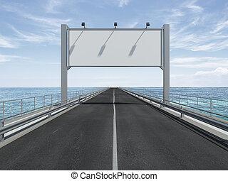 tabellone, vuoto, autostrada, grande