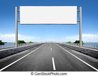 tabellone, vuoto, o, segno strada