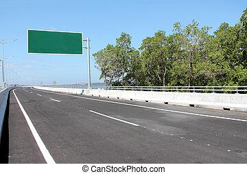 tabellone, vuoto, o, strada, segno