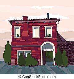 taberna, catroon, vector, edificio, ilustración