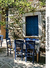taberna, griego, mesa al aire libre