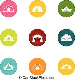 Tabernacle icons set, flat style - Tabernacle icons set....