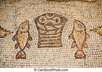Tabgha - Church with ancient mosaic where the miracle of...