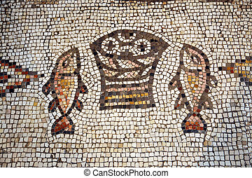 Tabgha mosaic - Mosaic, The Church of the Multiplication of...