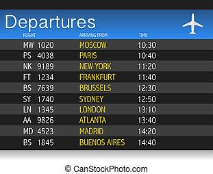 tabla, aeropuerto, tiempo de salida