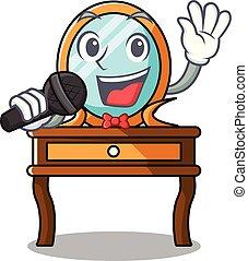 tabla, aliño, canto, caricatura, mascota