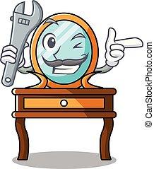 tabla, aliño, caricatura, mecánico, mascota