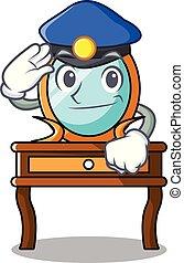 tabla, aliño, policía, caricatura, carácter