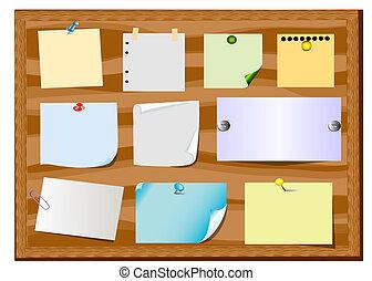 tabla, anuncio, con, resbalón, de, papel, y, oficina, botón
