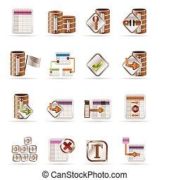 tabla, base de datos, iconos