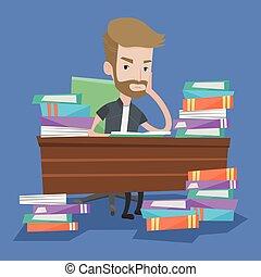tabla, books., estudiante, pilas, sentado