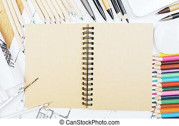 tabla, bosquejo, bloc, blanco