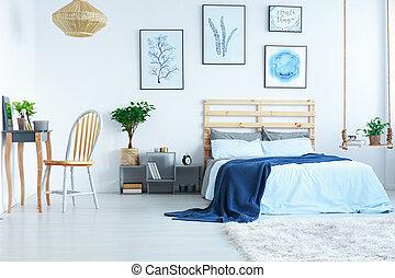 tabla, brillante, dormitorio, aliño