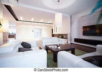 tabla, café, sofás, cómodo