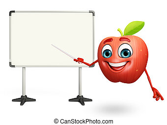 tabla, carácter, fruta, exhibición, manzana, caricatura