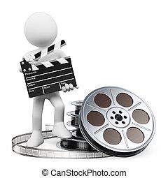tabla, carrete, badajo, película, personas., 3d, blanco