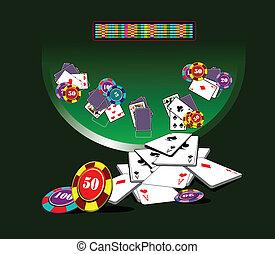 tabla, casino, elemen, veintiuna