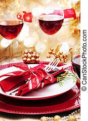 tabla, cena, adornado, navidad