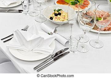 tabla, cena, citas, restaurante