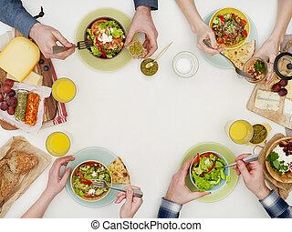 tabla, cena, sobre, vista