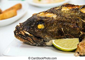 tabla, cocido al horno, banquete, horno, grouper