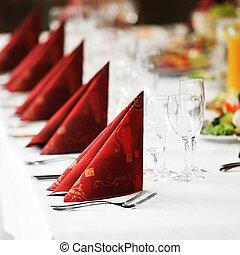 tabla, con, alimento y bebida