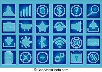 tabla, con, conjunto, de, iconos