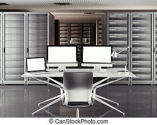tabla, con, dos, exhibiciones, y, computador portatil, en, un, grande, servidor, room., 3d, interpretación