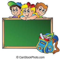 tabla, con, niños, y, bolsa escuela