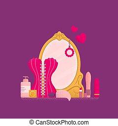tabla, concept., aliño, espejo., tocador