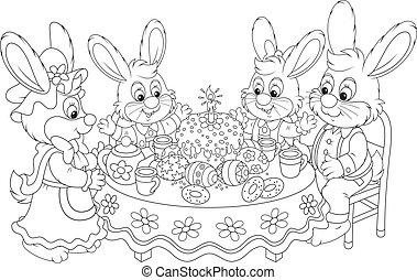 tabla, conejitos, pascua, festivo