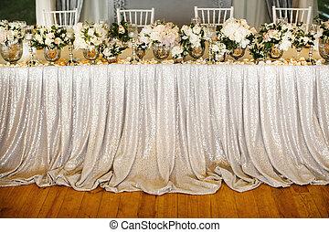 tabla, conjunto, para, boda, con, hermoso, flores