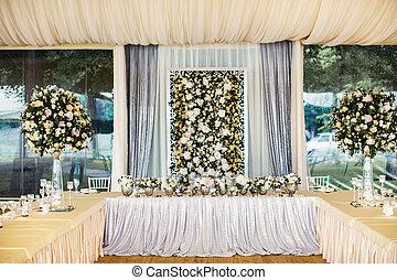 tabla, conjunto, para, boda, con, un, hermoso, flores