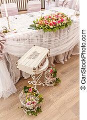 tabla, conjunto, para, boda