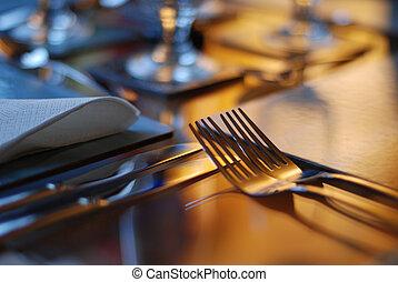 tabla, conjunto, para, cenar