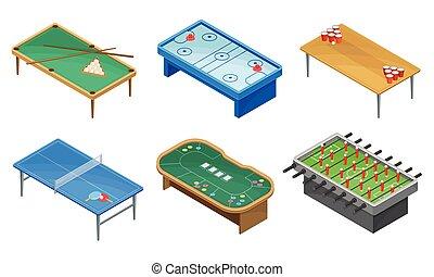 tabla, conjunto, tabla, mesas, juegos, billiard, vector, ...