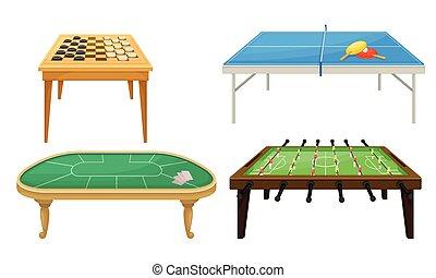 tabla, conjunto, tabla, mesas, juegos, vector, tenis, ...